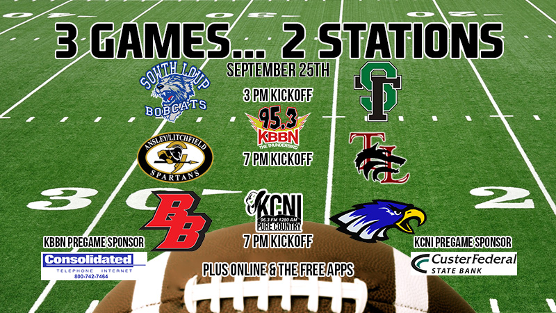 Area Football 9/25 – Sandhills/Thedford at South Loup and Twin Loup at Ansley/Litchfield on KBBN