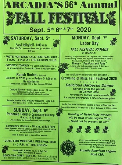 Arcadia Celebrates 66 Years of the Annual Fall Festival Sept. 5-7