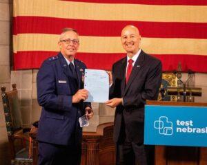 Gov. Ricketts, State Senators, and National Guard Members Celebrate Passage of LB 450
