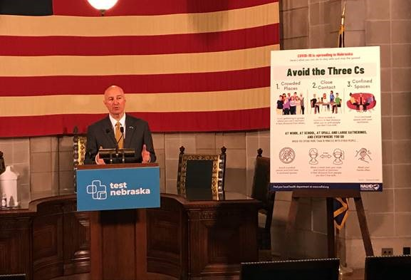 """Gov. Ricketts Announces Changes to Directed Health Measures – Avoid the """"Three C's"""""""