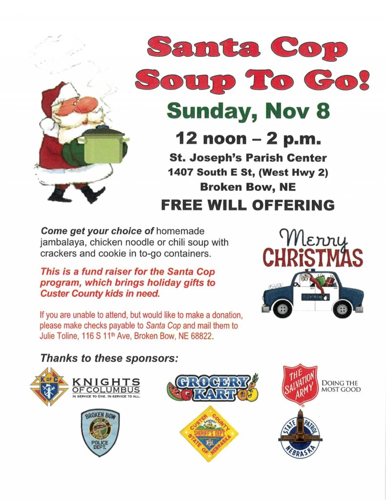 Annual Santa Cop Lunch–Soup to Go! Sunday, November 8
