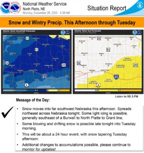 Hazardous Weather Outlook- Winter weather advisory in effect from Monday evening through Tuesday