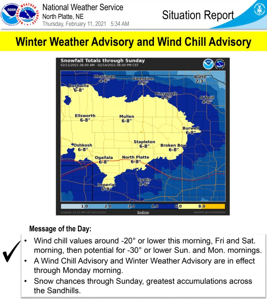 Winter weather advisory in effect until noon Monday February 15