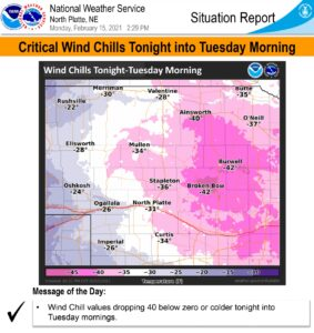 Wind chill warning remains in effect through Tuesday morning, -40° wind chills expected
