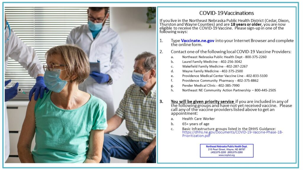 Local COVID-19 Updates, 18 & Older Now Eligible To Receive Vaccine In NNPHD Health District