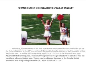 Former Husker Cheerleader to Speak at Arcadia Banquet April 17