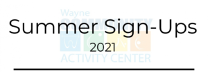 Activity Center Offers Summer Registration April 15 - 17