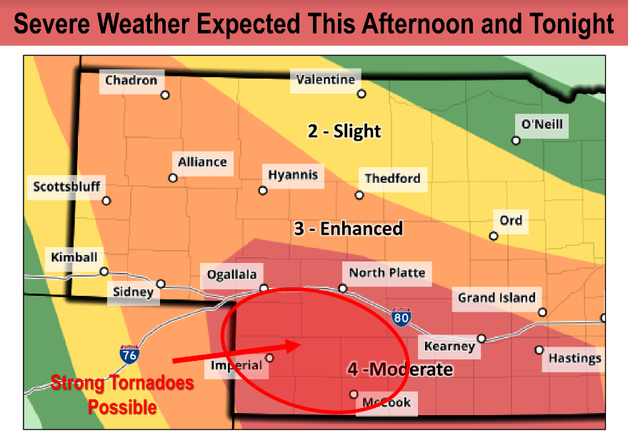 NWS Expects Severe Weather In The Panhandle, Central, And South-Central Nebraska