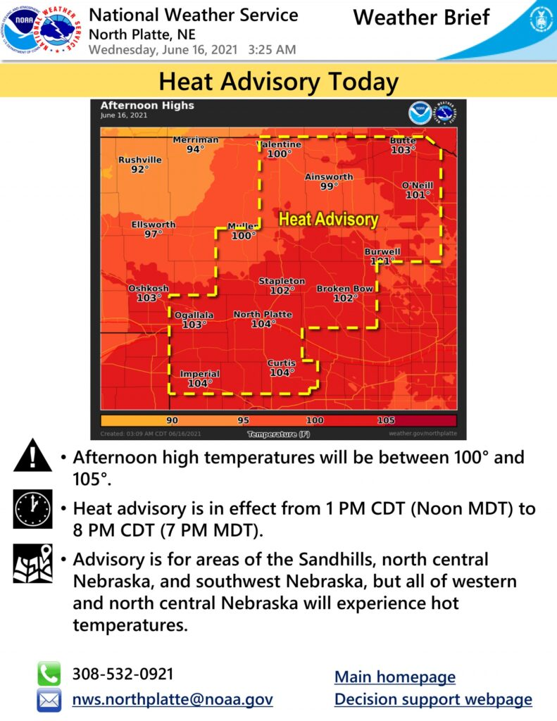 Heat advisory in effect from 1 PM to 8 PM CDT
