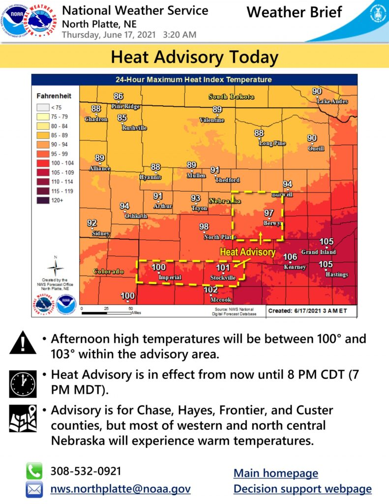 Heat advisory in effect until 8 pm Thursday
