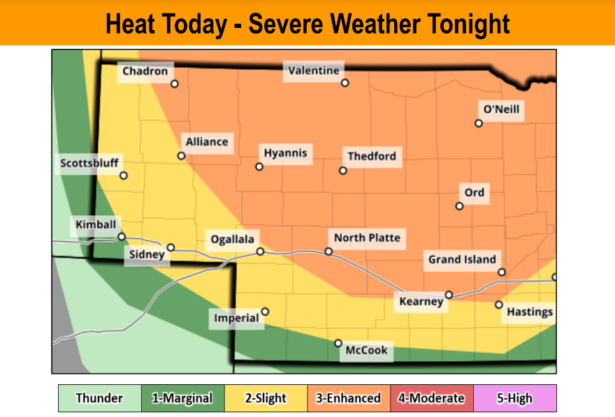 Heat Indices Near 100 Degrees Today; Severe Weather Risk Expands