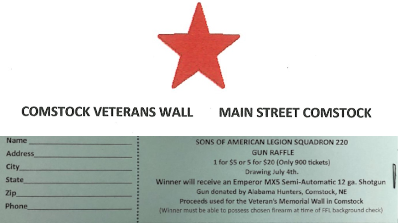 Gun Raffle Tickets Continue To Be Sold For Comstock Veterans Wall