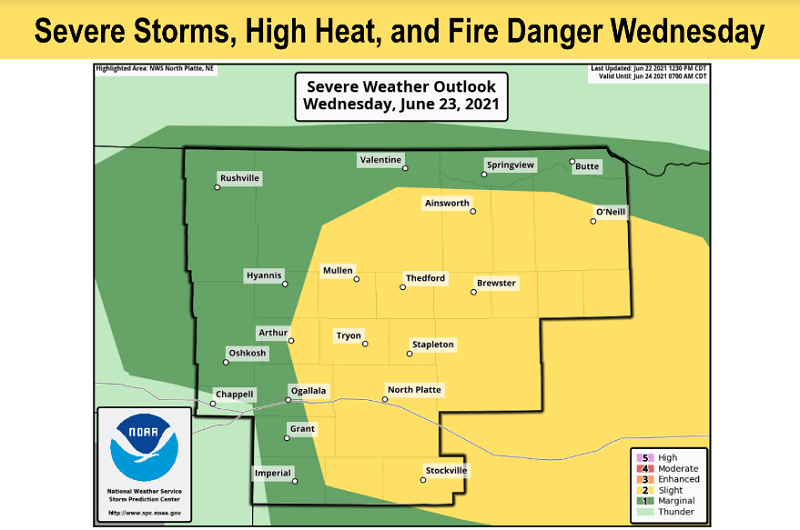 Severe Storms, High Heat, And Fire Danger Wednesday