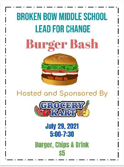 Broken Bow Middle School Lead4Change Burger Bash Thursday, July 29