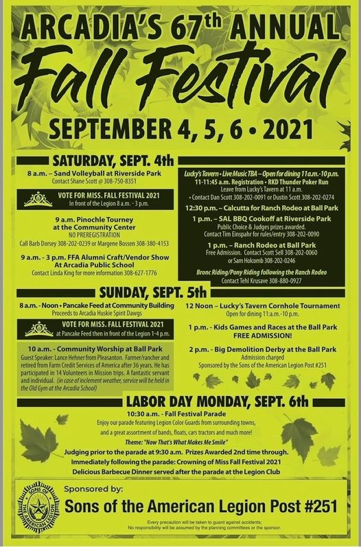 Arcadia's 67th Annual Fall Festival Labor Day Weekend