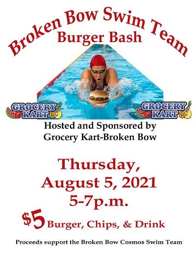 Broken Bow Swim Team Burger Bash August 5