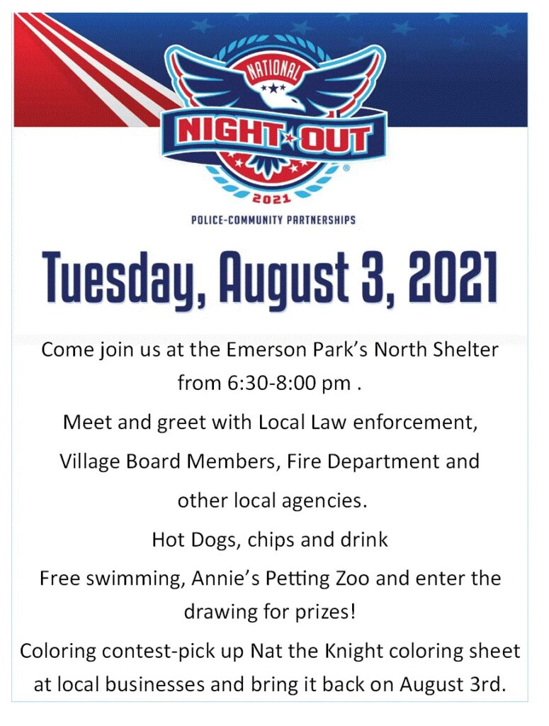 Emerson Police To Host National Night Out Tuesday