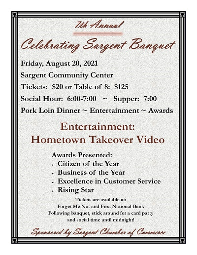 """7th Annual """"Celebrating Sargent Banquet"""" on August 20"""