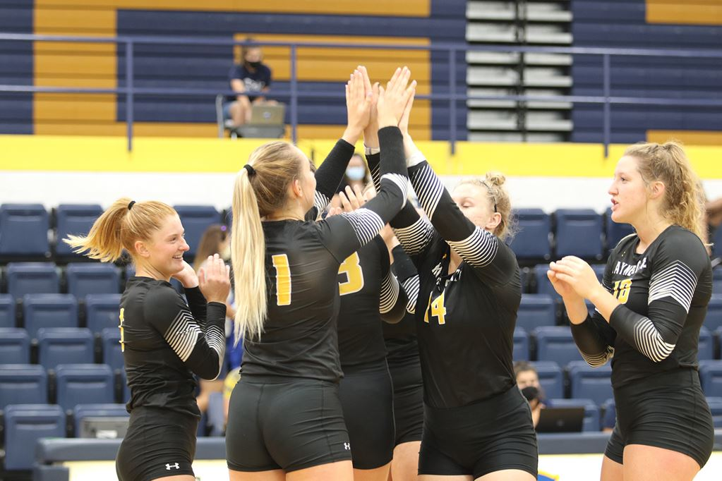 #5 Wayne State Volleyball Begins Conference Schedule With Four-Set Road Victory