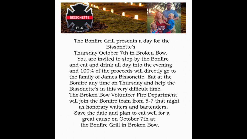 Fundraiser for Bissonette Family at Bonfire Grill Oct. 7