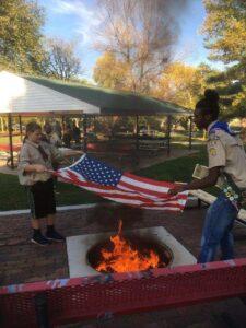 Silas Mark Eagle Court, Flag Burning Ceremony