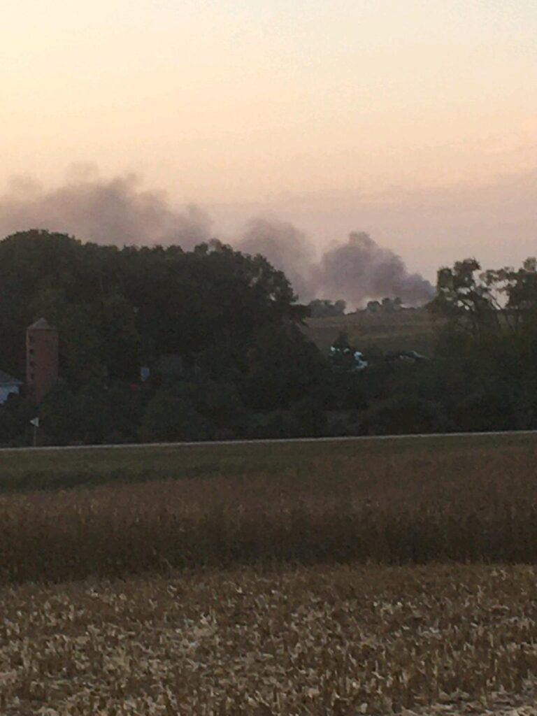 Combine Engulfed In Flames Upon Arrival Of Wayne Volunteer Fire Department Tuesday